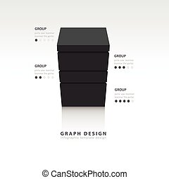 3d cube Vector template for infographic black style