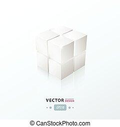3D Cube White Color