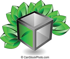 3d cube with leaves