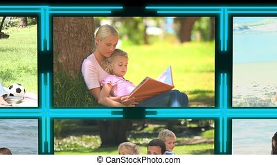 3d cube with videos about family