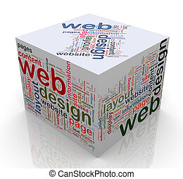 3d cube with \'Web design\' tags