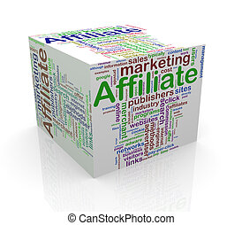 3d cube word tags wordcloud of affiliate marketing
