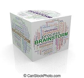 3d cube word tags wordcloud of brainstorm