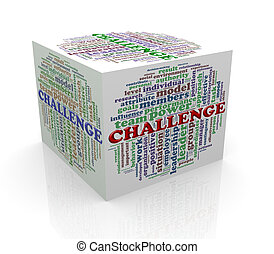 3d cube word tags wordcloud of challenge