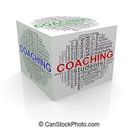 3d cube word tags wordcloud of coaching