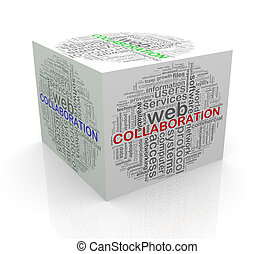 3d cube word tags wordcloud of collaboration