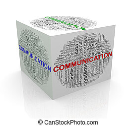 3d cube word tags wordcloud of communication