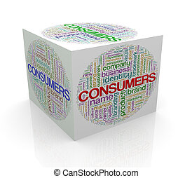 3d cube word tags wordcloud of comsumers