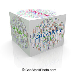 3d cube word tags wordcloud of creativity