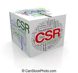 3d cube word tags wordcloud of csr