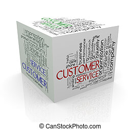 3d cube word tags wordcloud of customer service