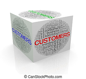 3d cube word tags wordcloud of customers