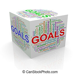 3d cube word tags wordcloud of goals