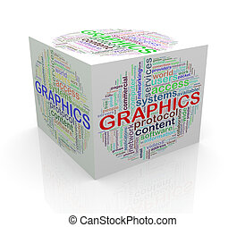 3d cube word tags wordcloud of graphics