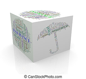3d cube word tags wordcloud of life insurance