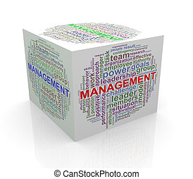 3d cube word tags wordcloud of management