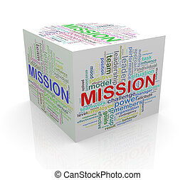 3d cube word tags wordcloud of mission