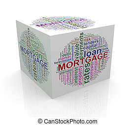 3d cube word tags wordcloud of mortgage