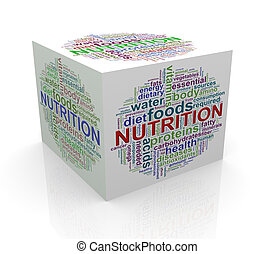 3d cube word tags wordcloud of nutrition