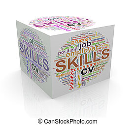 3d cube word tags wordcloud of skills
