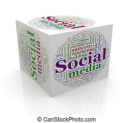 3d cube word tags wordcloud of social media