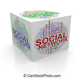 3d cube word tags wordcloud of social network