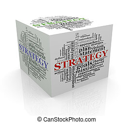 3d cube word tags wordcloud of strategy
