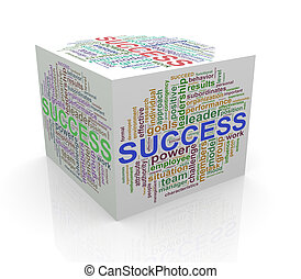 3d cube word tags wordcloud of success