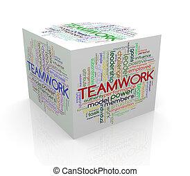 3d cube word tags wordcloud of teamwork