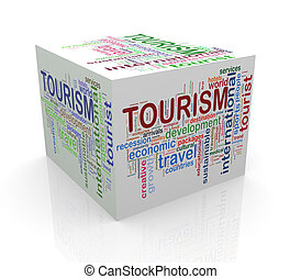 3d cube word tags wordcloud of tourism