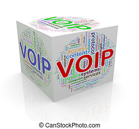 3d cube word tags wordcloud of voip