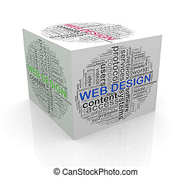 3d cube word tags wordcloud of web design