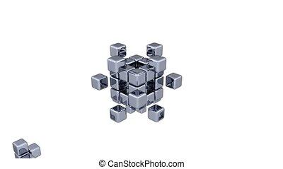 3D Cubes - Assembling Parts - Blue