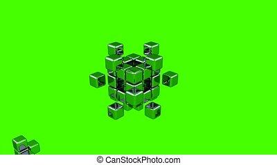3D Cubes - Assembling Parts - Green Background