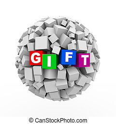 3d cubes boxes sphere ball - gift