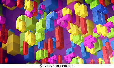 3d tetris cubes on a violet background. Tetris retro game concept. 3d rendering.
