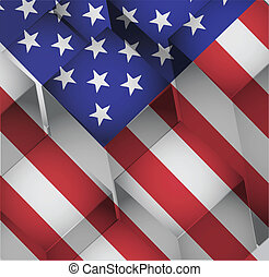 3d cubes usa american flag illustration