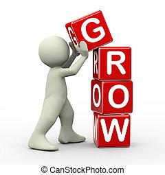 3d, cubi, collocazione, crescere, uomo