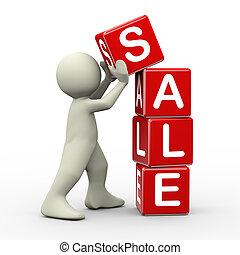 3d, cubi, collocazione, vendita, uomo