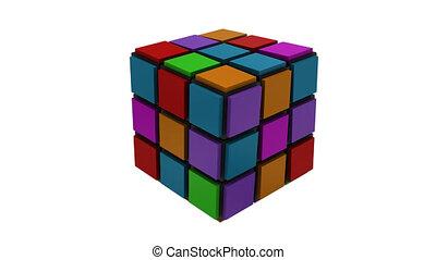 3d, cubique, stratégie, puzzle