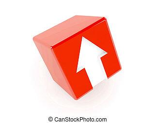 3d, cubo rosso, con, un, freccia, indicare, su.