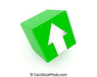 3d, cubo verde, con, un, freccia, indicare, su.