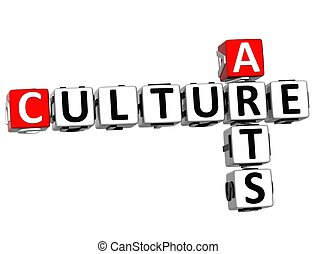 3D Culture Arts Crossword on white background