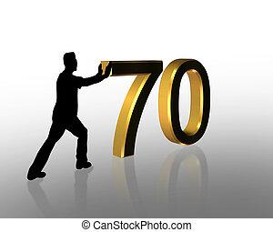 3d, cumpleaños, 70th, invitación
