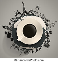 3d cup of coffee traveling around the world