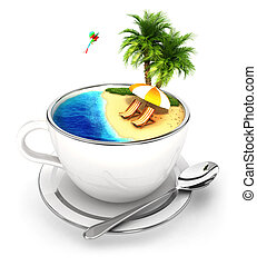 3d cup of paradise, isolated white background, 3d image