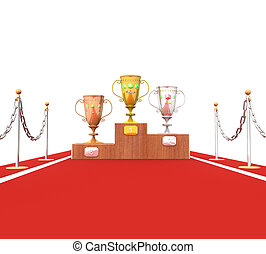3d cup trophies on the podium on the red carpet in isolation