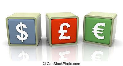 3d currencies symbols - 3d colorful buzzword of different...