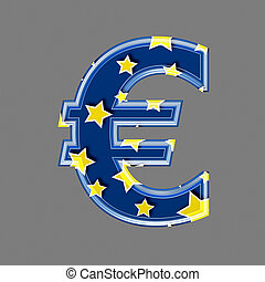 3d currency sign with star pattern - Euro