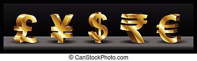 3D currency symbols